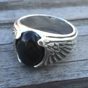 Eagle Wing Ring Sterling Silver w/ Black Onyx